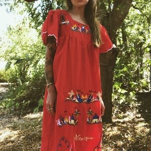70's Nicaragua Embroidered Prairie Dress